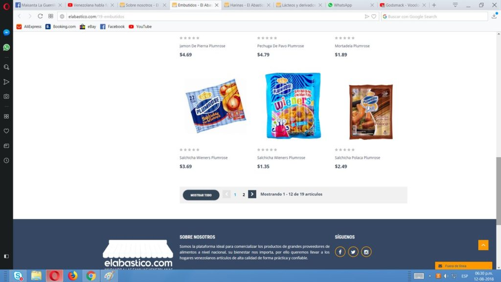 Página web - Alimentos