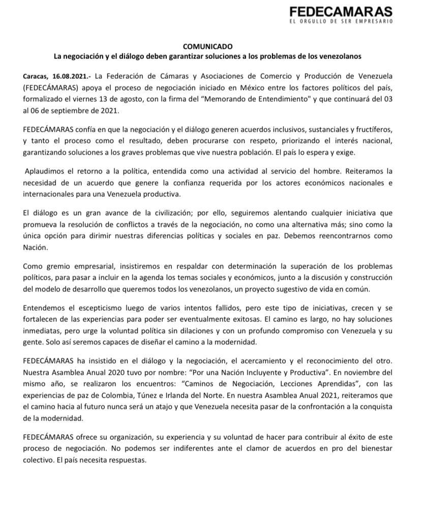 Fedecámaras apoya diálogo